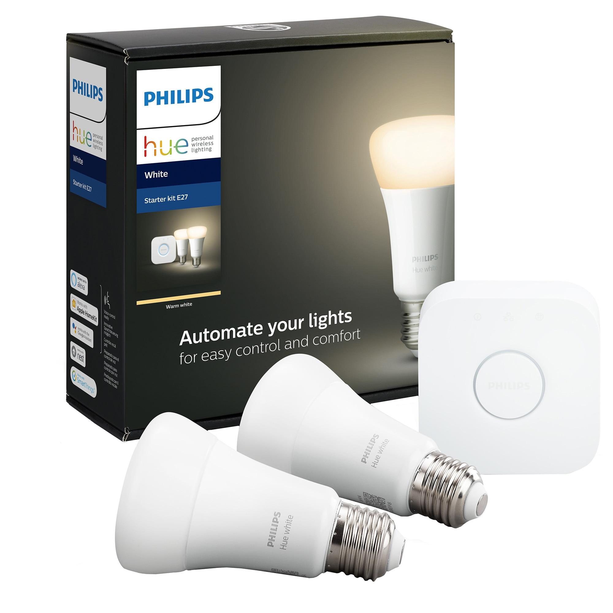 Fotografie Set 2 becuri inteligente LED Philips Hue Starter, Bluetooth/Wireless, E27, 9W (60W), 806 lm, A+, lumina alba + Bridge