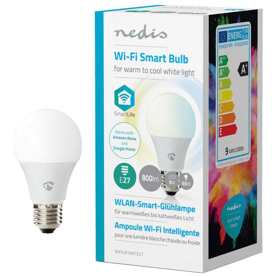 Fotografie Bec inteligent LED Nedis, dimabil, Wi-Fi, E27, 9W (60W), 800 lm, A+, lumina alba calda/rece