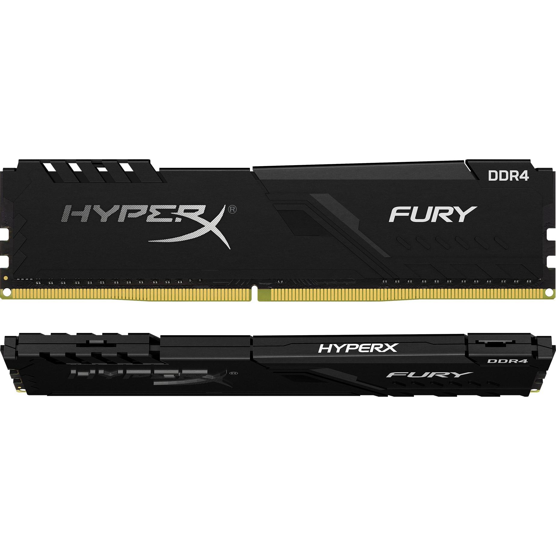 Fotografie Memorie HyperX Fury Black 8GB (2x4GB), DDR4, 2400MHz, CL15, 1.2V