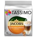 Capsule cafea, Jacobs Tassimo Caramel Macchiato, 8 bauturi x 295 ml, 8 capsule specialitate cafea + 8 capsule lapte