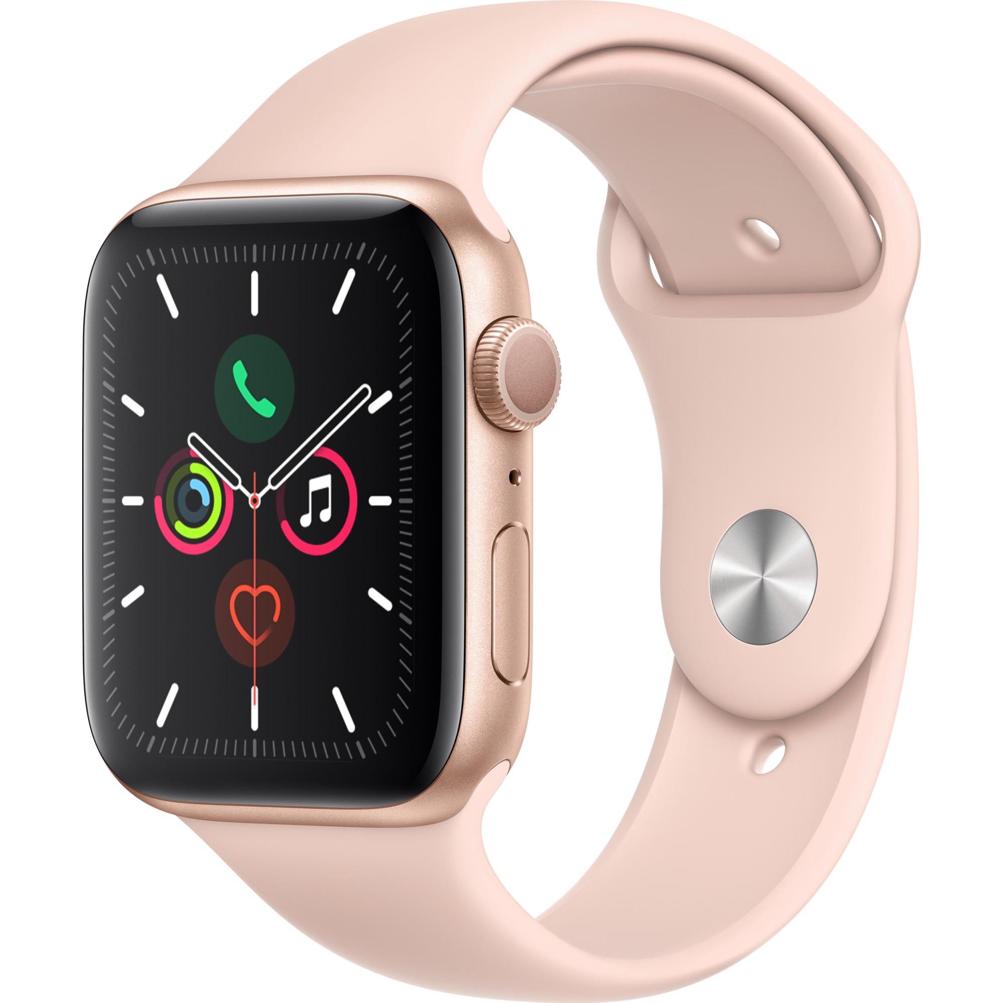 Fotografie Apple Watch 5, GPS, Carcasa Gold Aluminium 44mm, Pink Sand Sport Band - S/M & M/L
