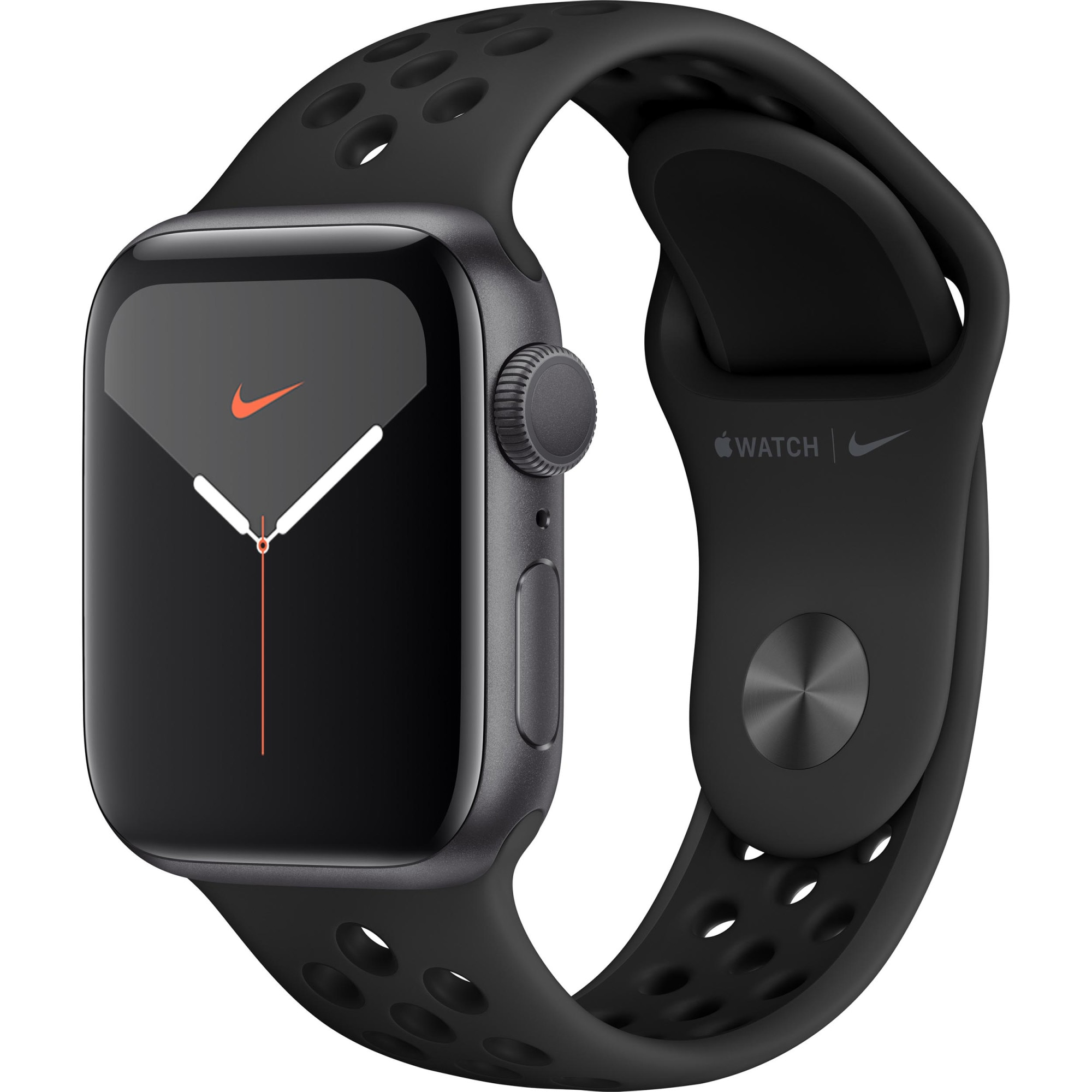 Fotografie Apple Watch Nike 5, GPS, Carcasa Space Grey Aluminium 44mm, Anthracite/Black Nike Sport Band - S/M & M/L