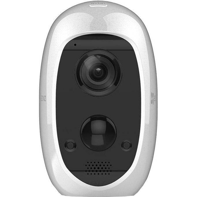 Fotografie Kit 2x Camera IP interior/exterior Ezviz C3A FHD, Audio Bidirectional, H.265, WiFi, mSD, Baterie 5500mAh inclusa, IP65 + baza CS-W2D