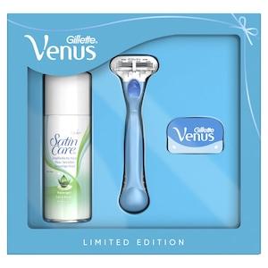 Set cadou: Aparat de ras pentru femei Gillette Venus Smooth + 1 rezerva + Gel de ras Satin Care, 75 ml