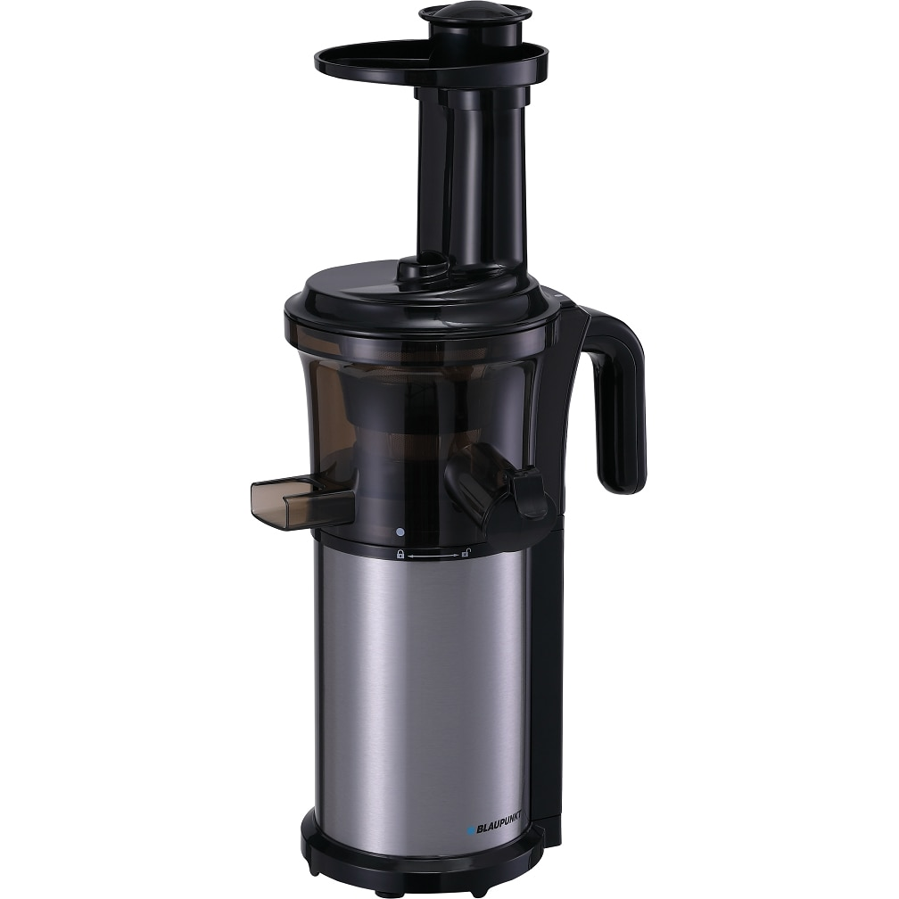 Fotografie Storcator de fructe si legume cu presare la rece Blaupunkt SJV301, 200 W, Recipient suc 0.7l, Recipient pulpa 0.7l, sistem antipicurare, Negru/ Argintiu