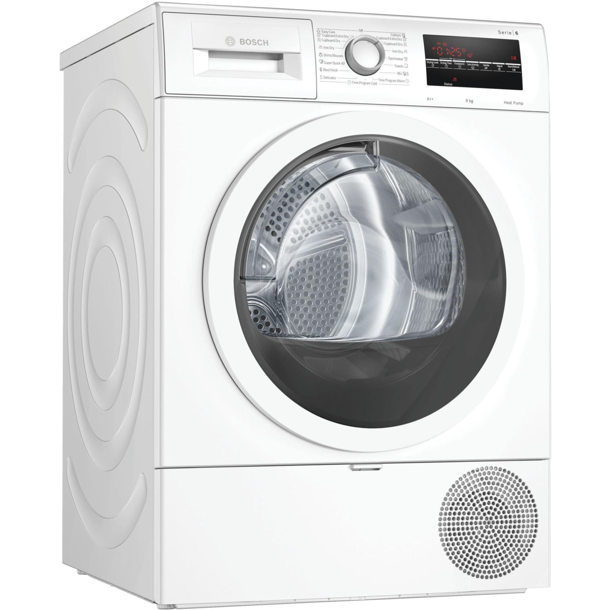 Fotografie Uscator de rufe Bosch WTR85T00BY, Pompa de caldura, 9 kg, 15 programe, Clasa A++, EasyClean filter, Alb