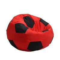 Пуф Pufrelax, тип топка, Telstar Junior - Red & Black, Текстил, Пълнеж от Полистиролни перли, подходящ за деца от 2-12г., Перящ се калъф