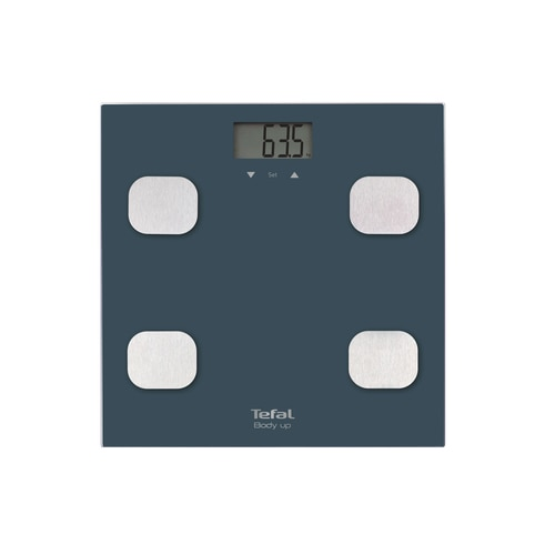 Fotografie Cantar de baie Tefal Body Up BM2520V0, 150 kg, LCD, Sticla, 8 memorii, Indice de masa corporala, Albastru