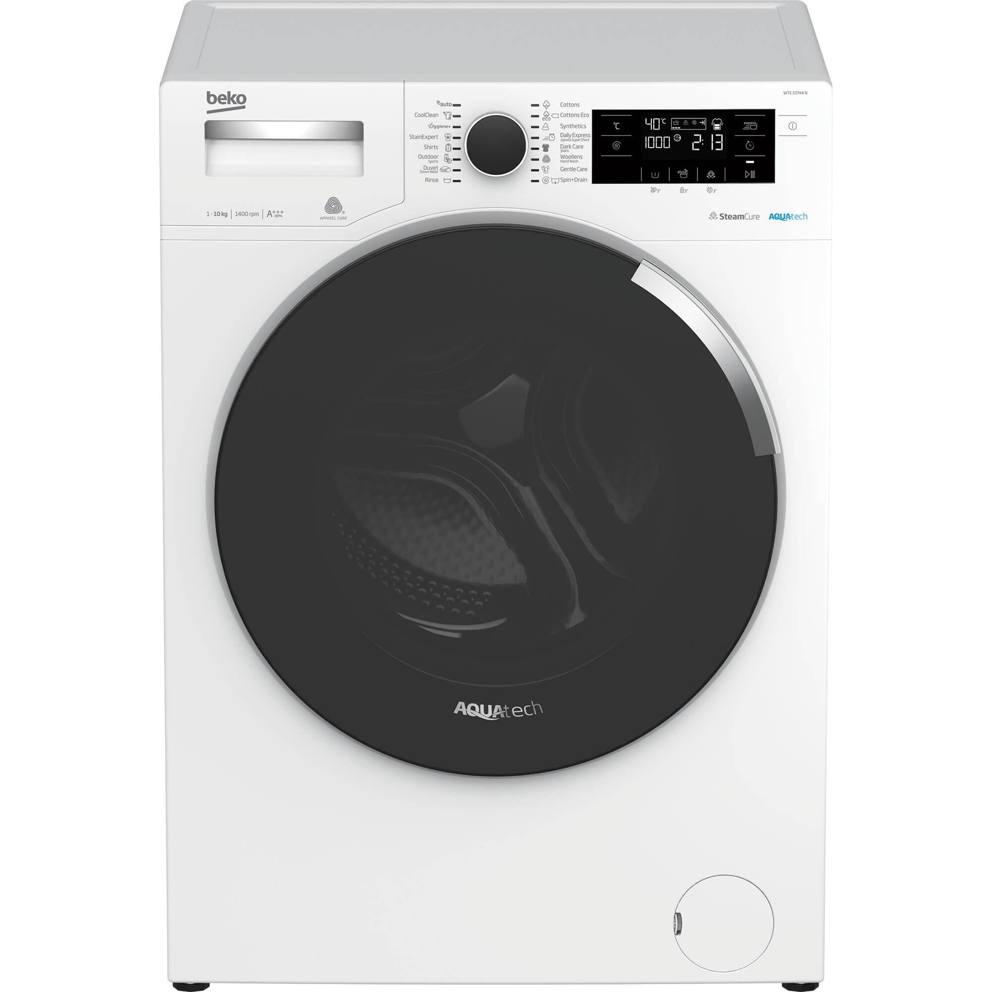 Fotografie Masina de spalat rufe Beko WTE10744N, 10 kg, 1400 RPM, Clasa A+++, AquaTech™ SteamCure™, ADDGarment, Motor ProSmart Inverter, Alb