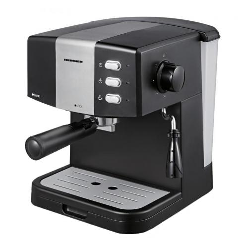 Fotografie Espressor Heinner HEM-850BKSL, 850 W, 1.5 L, 15 bar, filtru dublu din inox, Negru/Argintiu