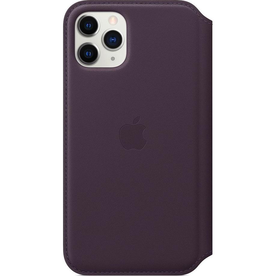 Fotografie Husa de protectie Apple pentru iPhone 11 Pro, Piele, Aubergine