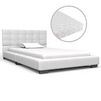 vidaXL fehér műbőr ágy matraccal 90 x 200 cm