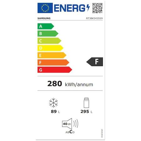 Хладилник с 2 врати Samsung RT38K5435S9/EO, 384 л, Клас F, Full NoFrost, Twin Cooling Plus, Компресор Digital Inverter, Дисплей, LED осветление, Inox