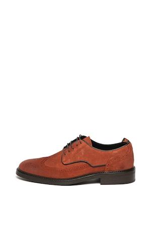 Scotch & Soda, Pantofi brogue de piele Marapi, rosu caramiziu, 46