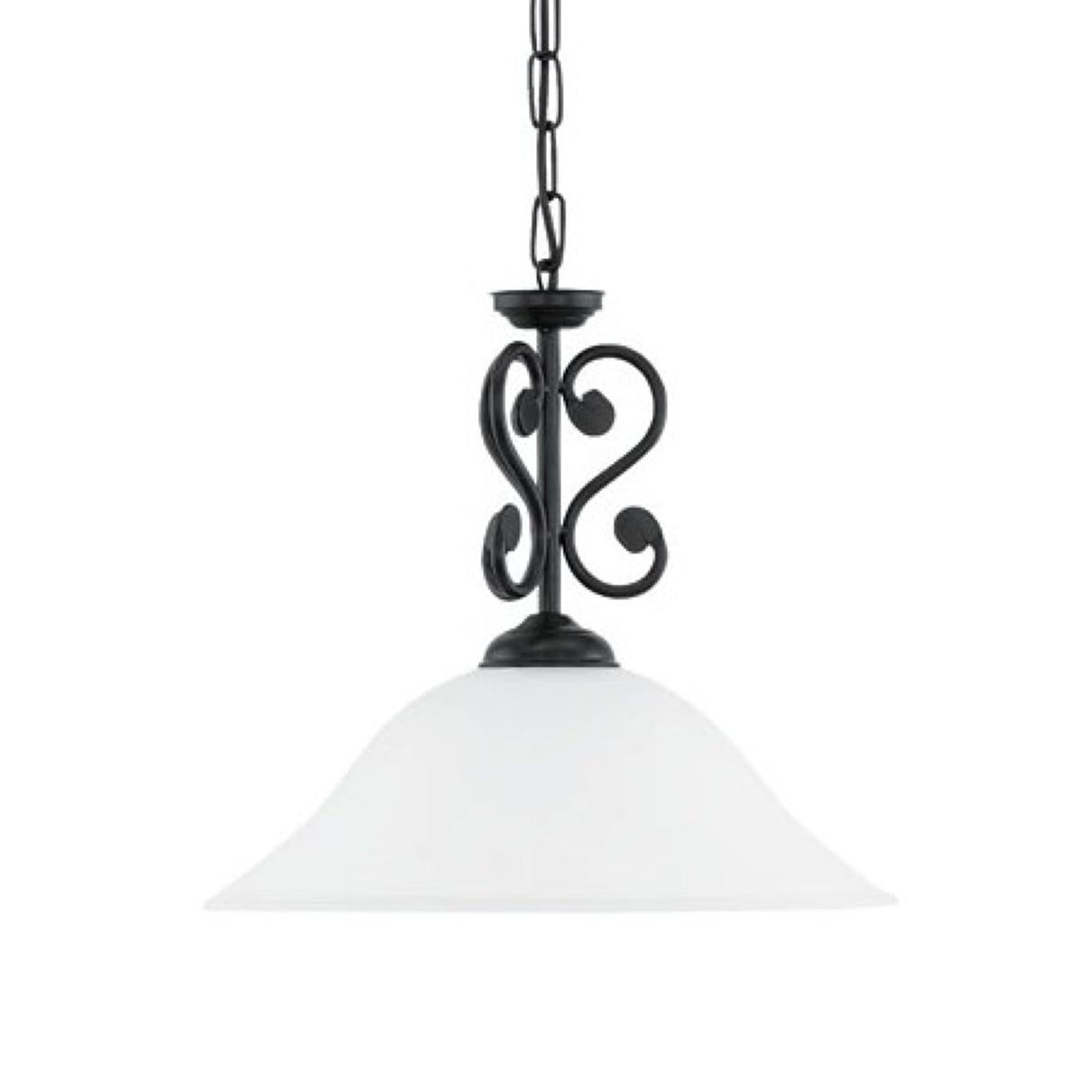 Lampa wisząca MURCIA 1 Eglo styl rustykalny pałacowy dworkowy stal nierdzewna szkło alabastrowe czarny biały 91002