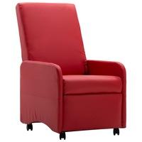 Фотьойл реклайнер vidaXL, червен, изкуствена кожа, 65х83х101 см