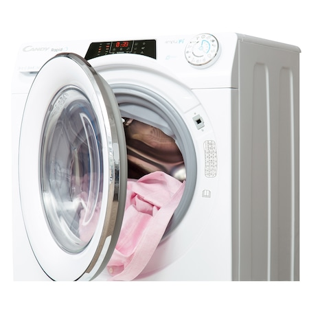 Masina de spalat rufe cu uscator Candy RapidO ROW 4856DHC/1-S, 1400 RPM, Spalare 8 kg/Uscare 5 kg, Clasa A, Motor Inverter, Wi-Fi, Smart Steam, Alb