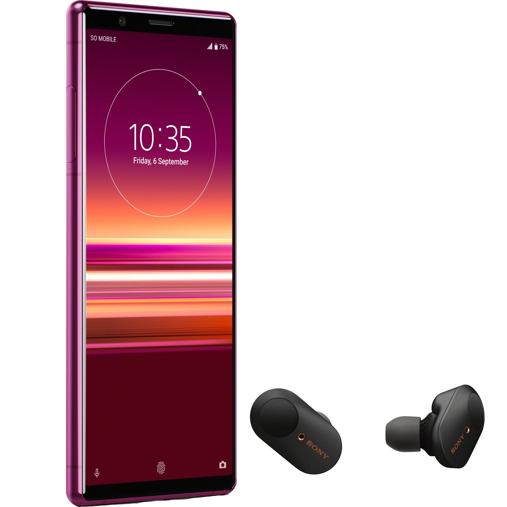 Fotografie Telefon mobil Sony Xperia 5, Dual SIM, 128GB, 6GB RAM, 4G, Red + Casti wireless Sony WF-1000XM3 Noise cancelling
