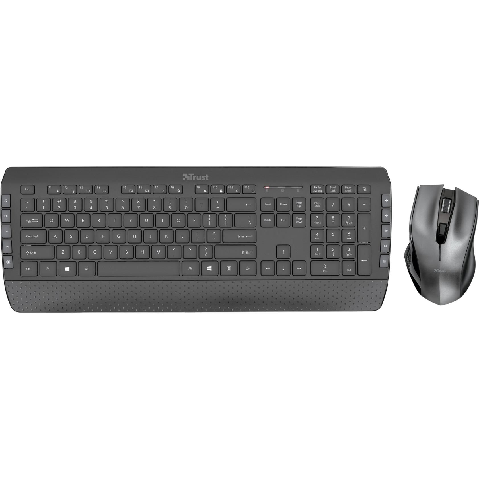 Fotografie Kit Tastatura + Mouse wireless Trust Tecla 2, Negru