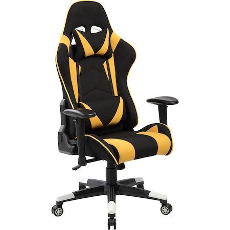 Kring Thor Gamer szék, Fejtámla és deréktámasz, Textil, Fekete/Sárga
