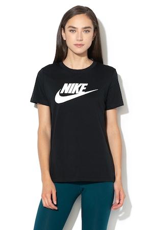 Nike, Tricou cu imprimeu logo Sportswear Essential, Negru/Alb, M