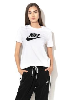 Nike, Tricou cu imprimeu logo Sportswear Essential, Alb/Negru