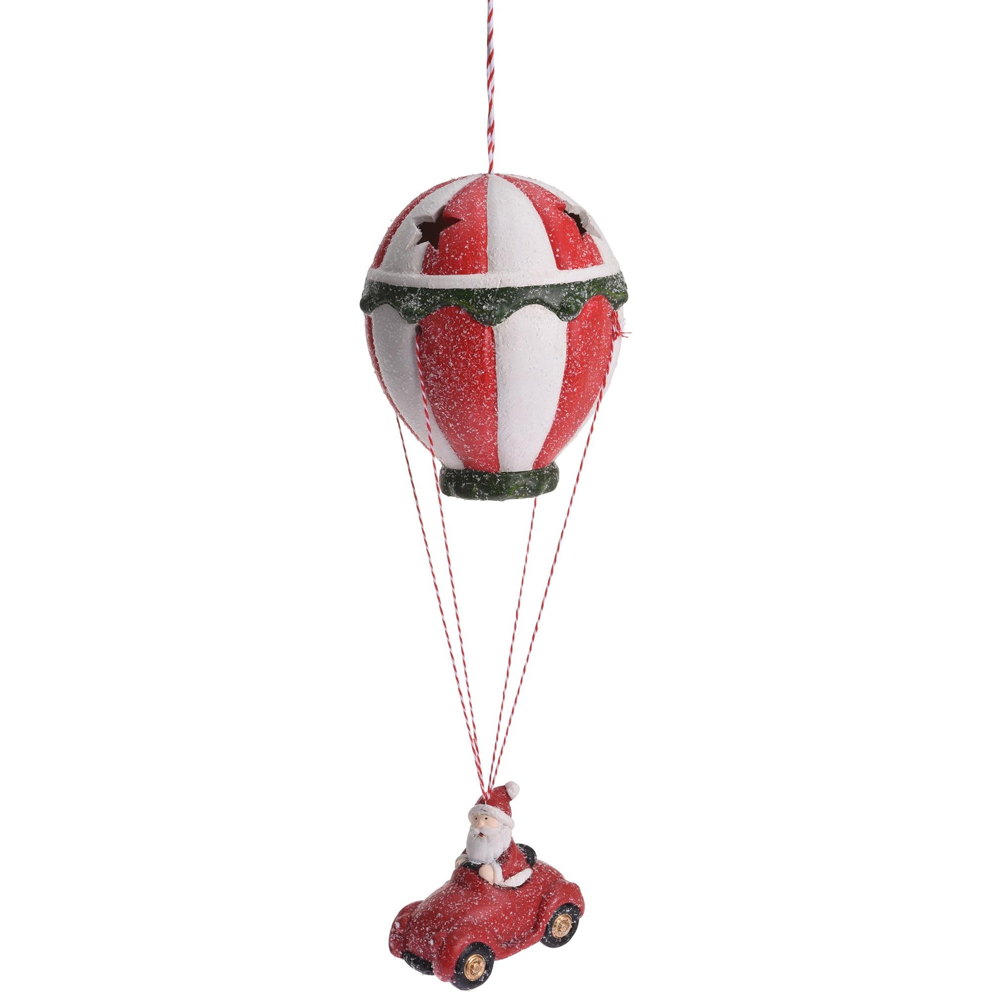 Fotografie Decoratiune balon LED cu Mos Craciun eNoelle, 13.5x13.5x39.5 cm, ceramica, rosu/alb