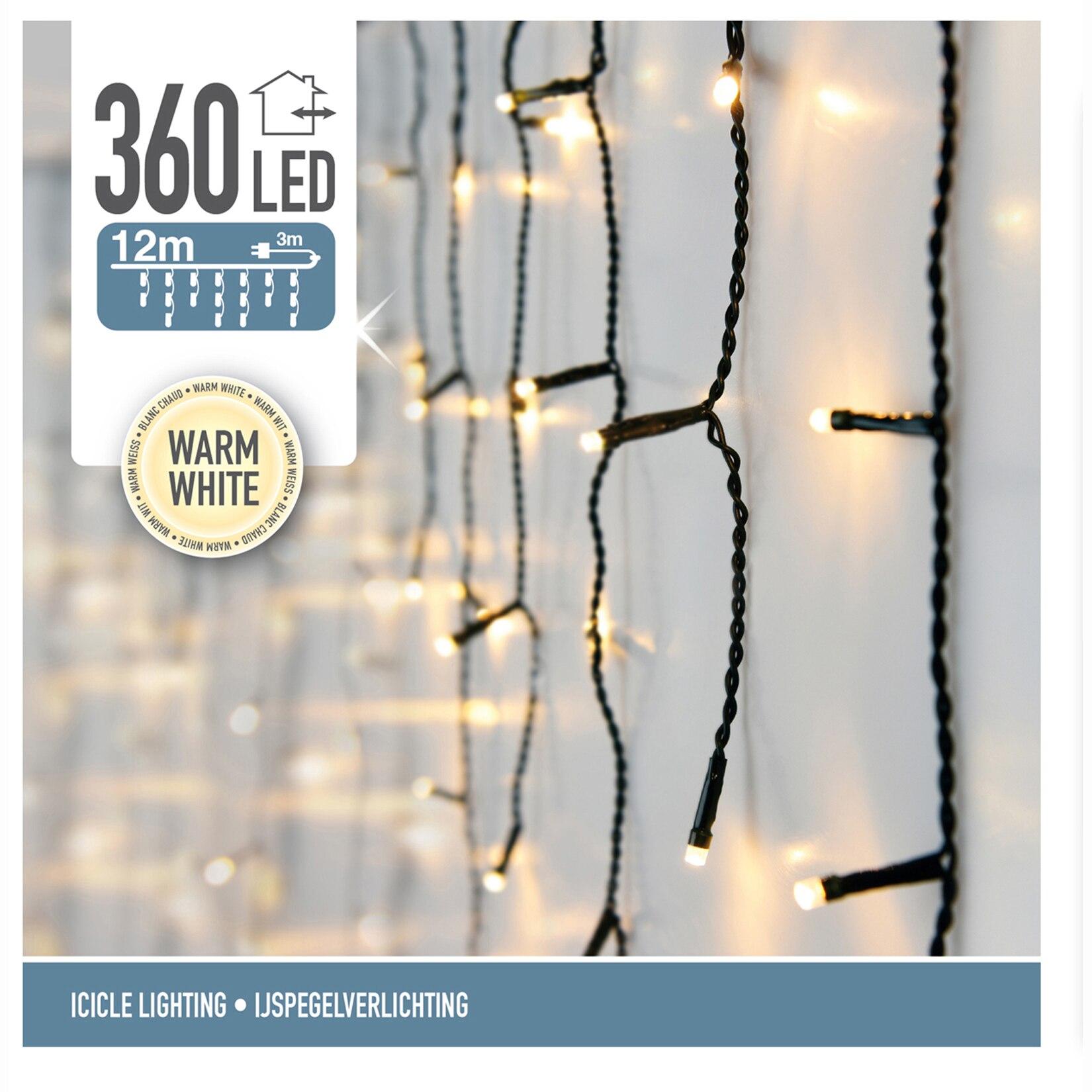 Fotografie Instalatie Craciun outdoor tip turturi eNoelle, 360 LEDuri, 12 m, lumina calda, cablu alimentare 3 m