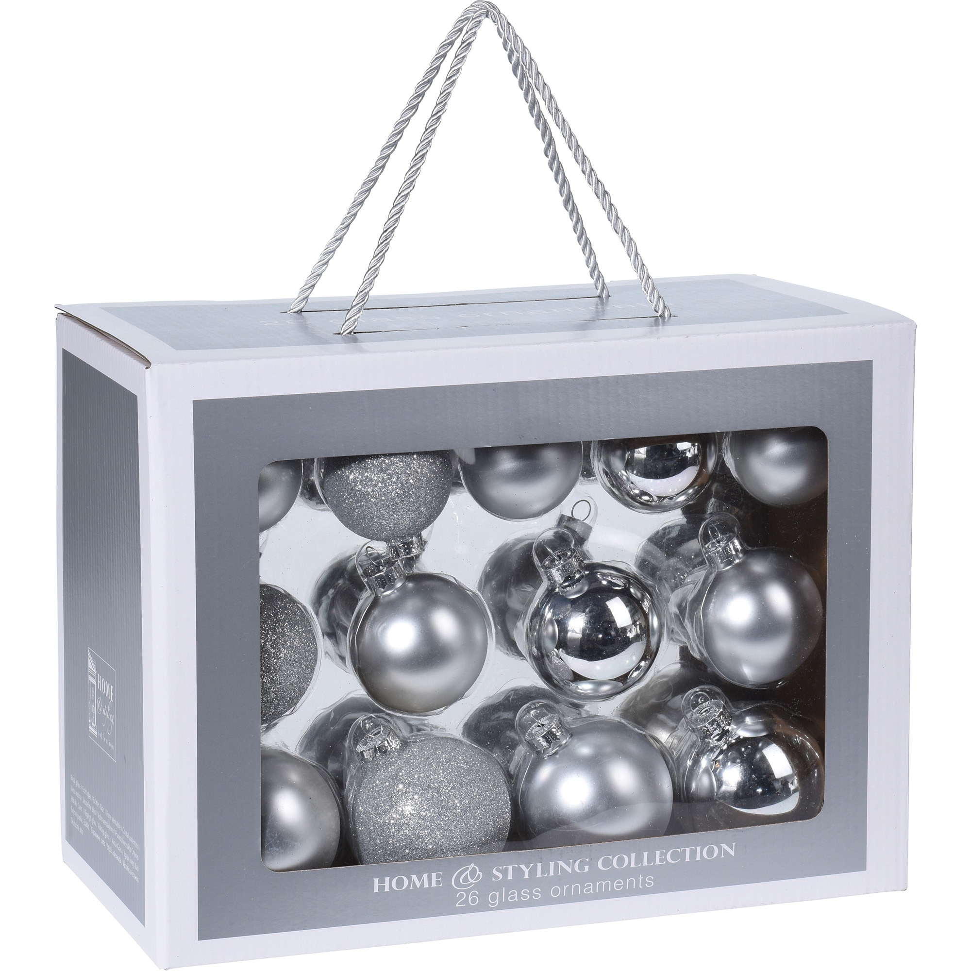 Fotografie Set 26 globuri de Craciun eNoelle, sticla, argintiu