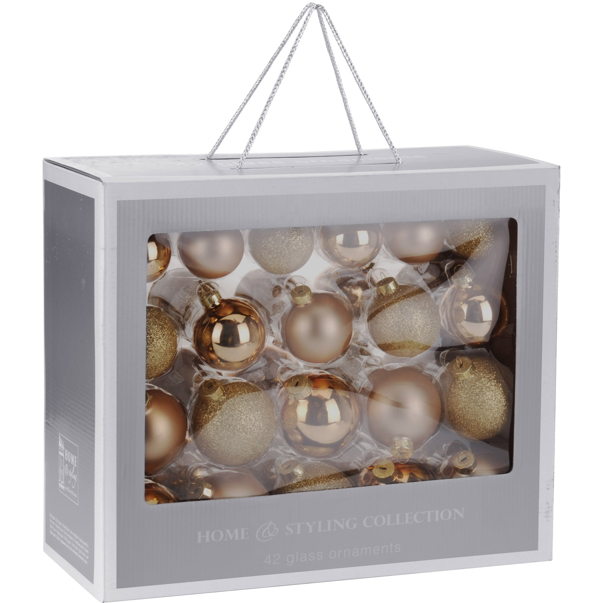 Fotografie Set 42 globuri de Craciun eNoelle, sticla, auriu