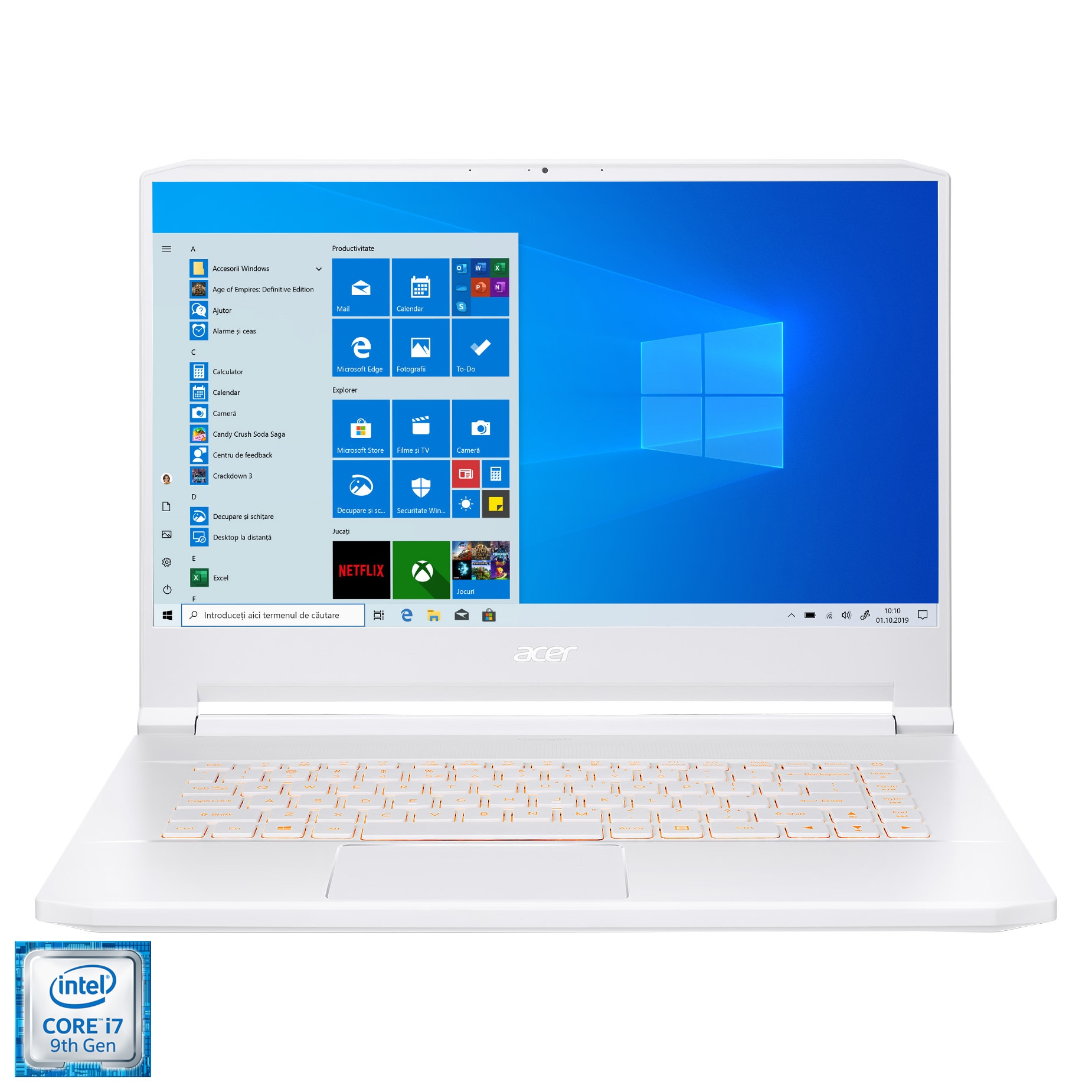 "Fotografie Laptop Acer ConcepD 7 PRO CN715 cu procesor Intel Core i7-9750H pana la 4.5 GHz, 15.6"", 4k Ultra HD, 16GB, 1TB SSD, NVIDIA GeForce RTX 2060 6GB, Windows 10 Pro, White"
