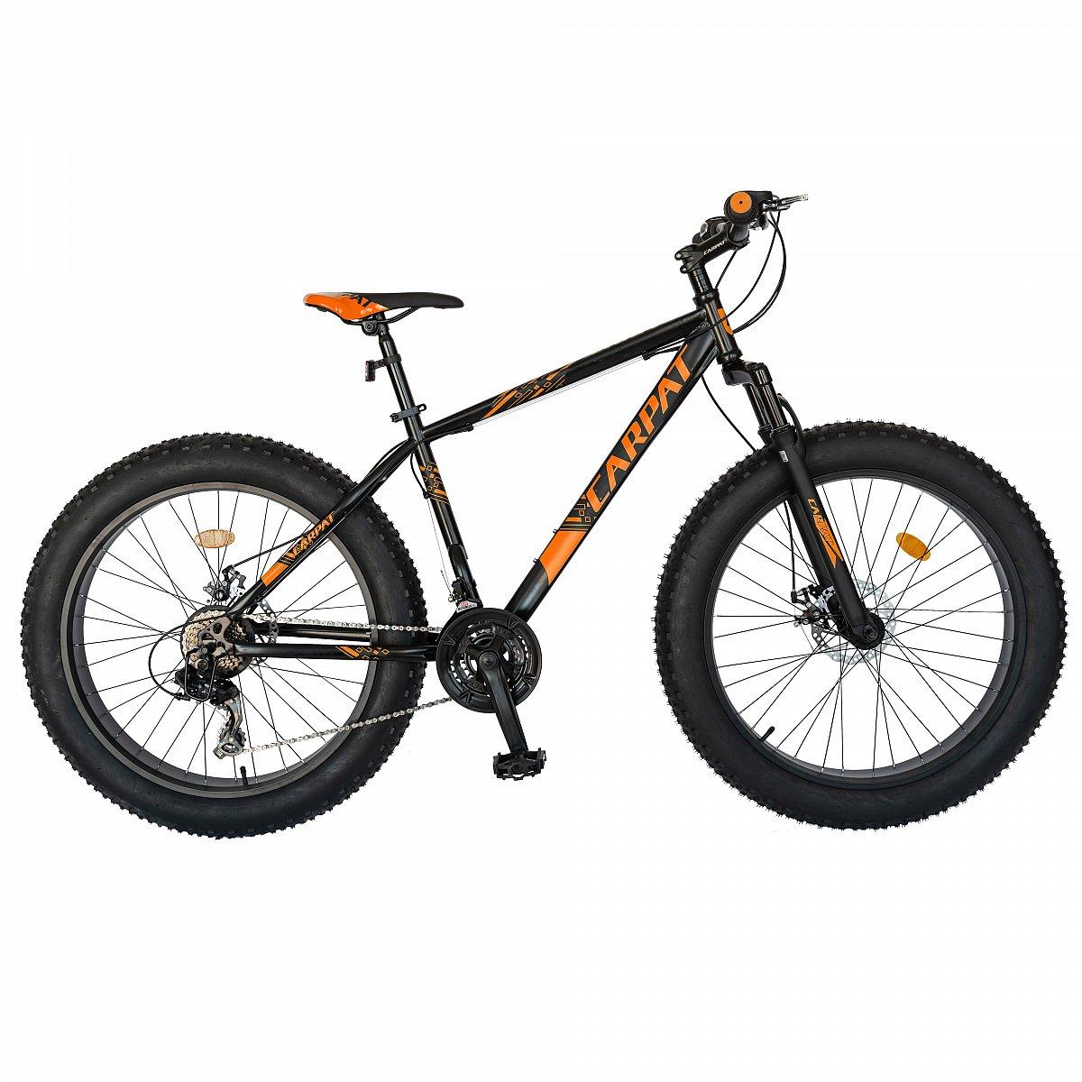 "Fotografie Fat Bike Carpat C2619B frana disc, transmisie Shimano, 26"", Negru/Portocaliu"