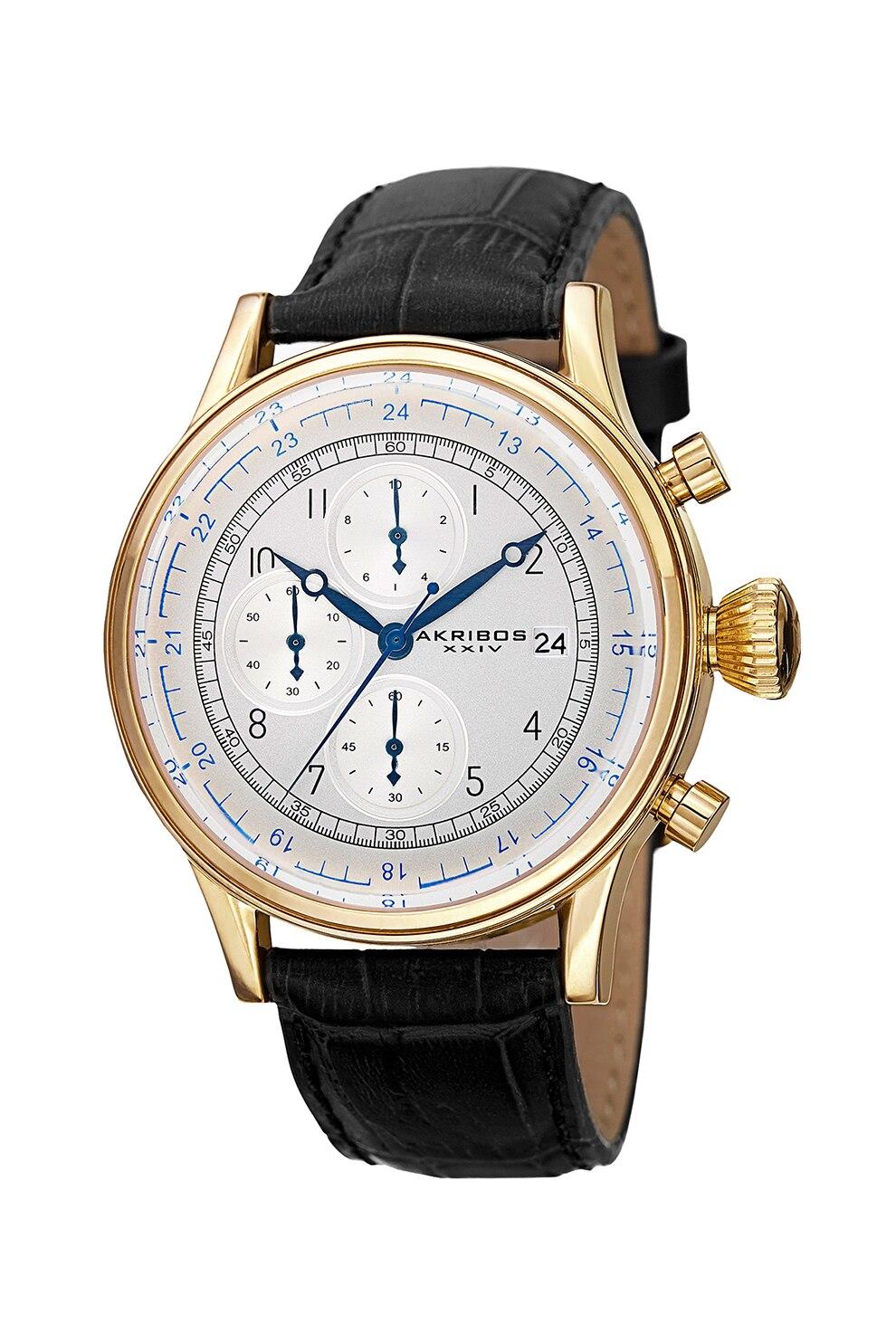Fotografie AKRIBOS XXIV, Ceas cronograf cu o curea din piele, Negru/Auriu