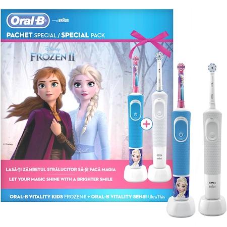 Комплект Family Ел. четка за зъби за деца Oral B Vitality D100 Frozen + Ел. четка за възрастни Vitality Sensi Ultra Thin, 2 глави, Бял + Син