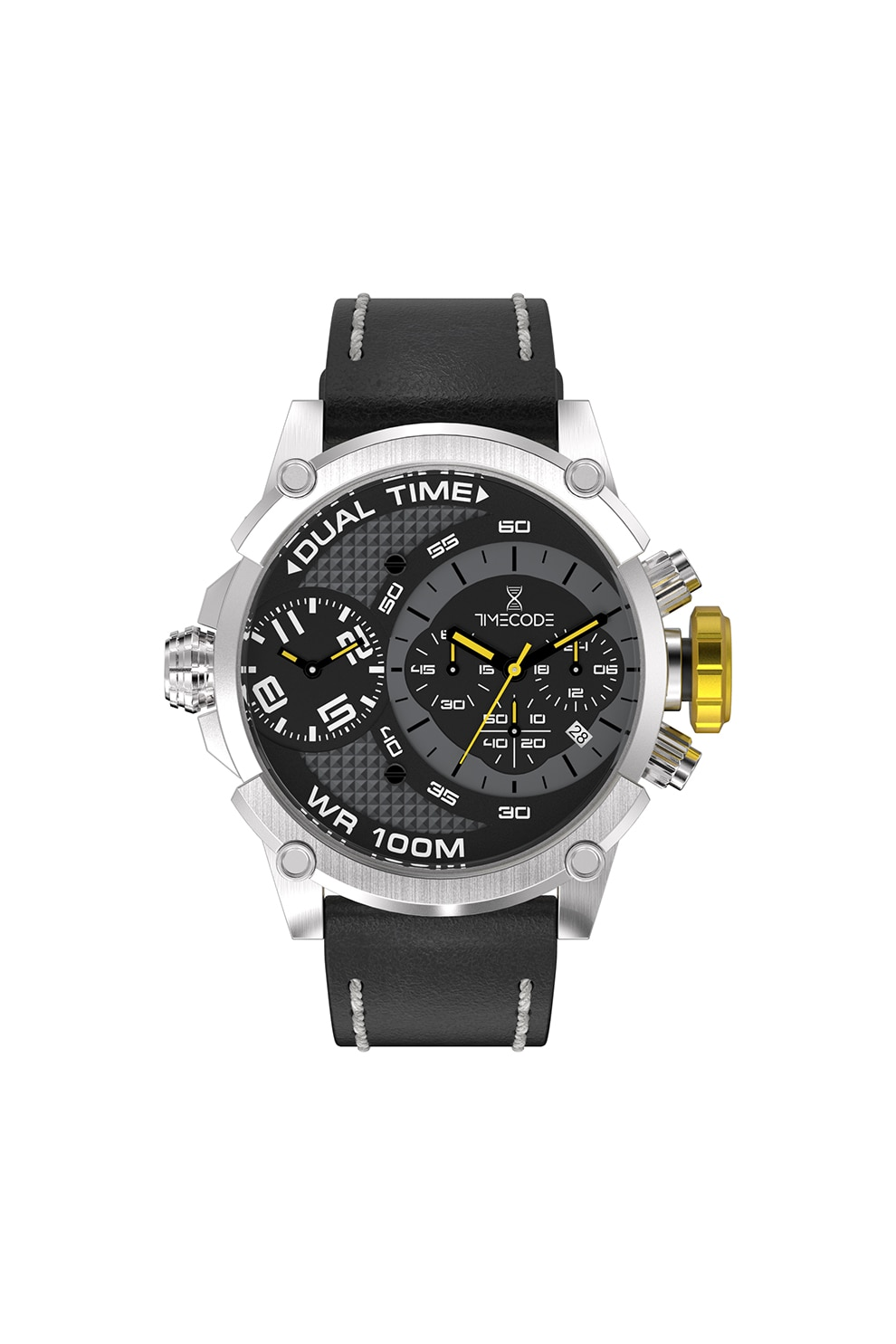 Fotografie Timecode, Ceas cronograf cu o curea de piele, Negru