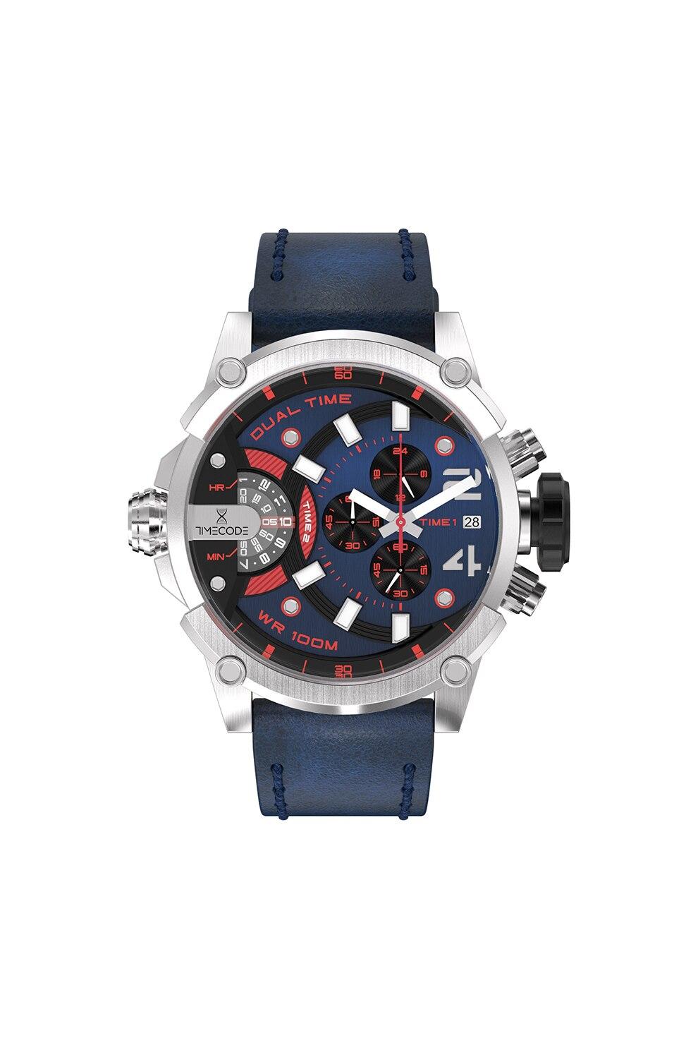Fotografie Timecode, Ceas cronograf cu o curea de piele, Albastru inchis