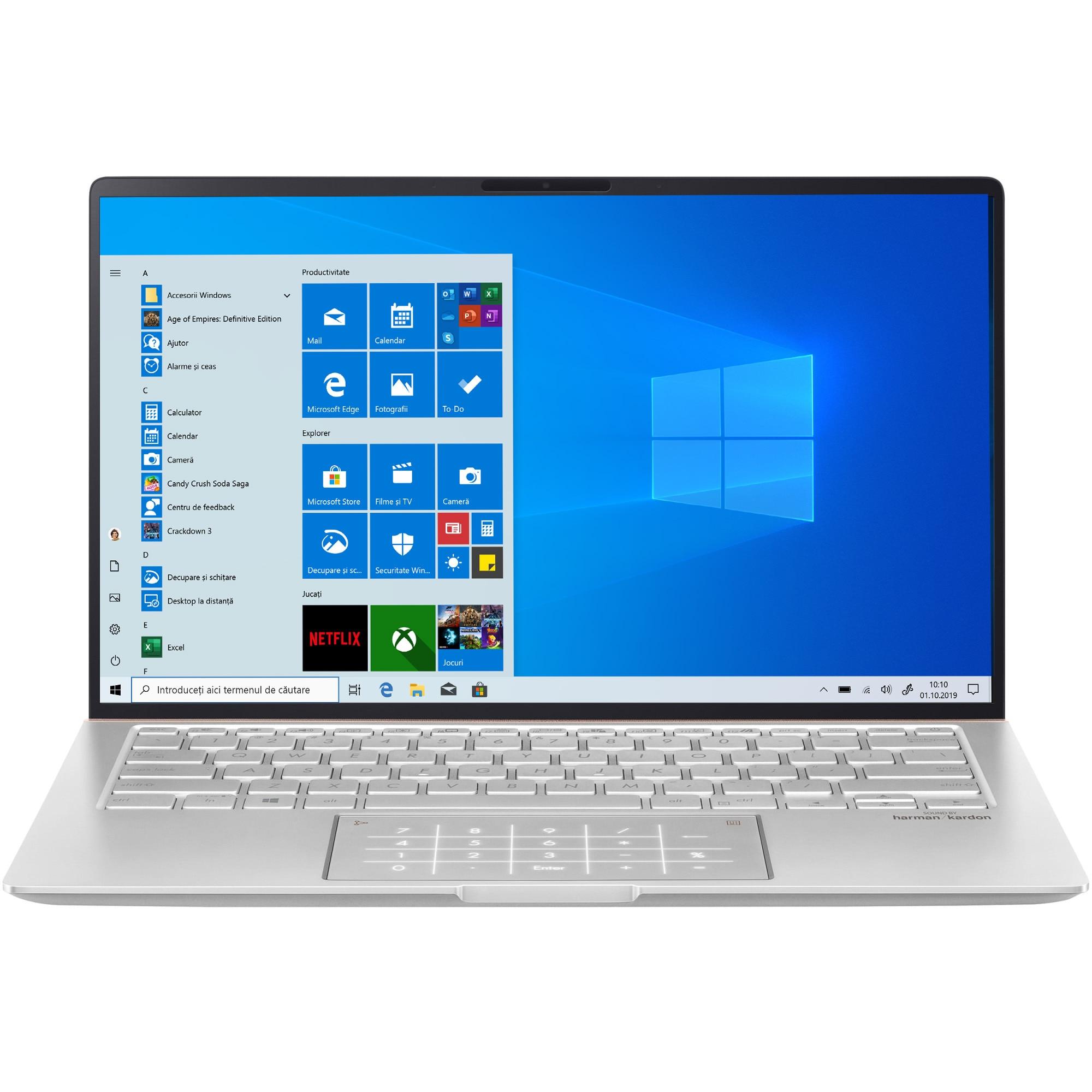 "Fotografie Laptop ultraportabil ASUS ZenBook 14 UM433DA cu processor AMD Ryzen™ 7 3700U pana la 4.00 GHz, 14"", Full HD, 16GB, 1TB SSD, Radeon™ RX Vega 10 Graphics, Windows 10 Pro, Icicle Silver"