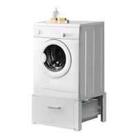 [en.casa]® Mosógéptartó állvány emelvény tárolófiókkal standard mosógéphez 63 x 54 x 31 cm 150 kg-ig acél fehér