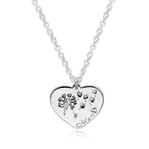 925 ezüst nyaklánc szimmetrikus szív, pitypang a szélben,