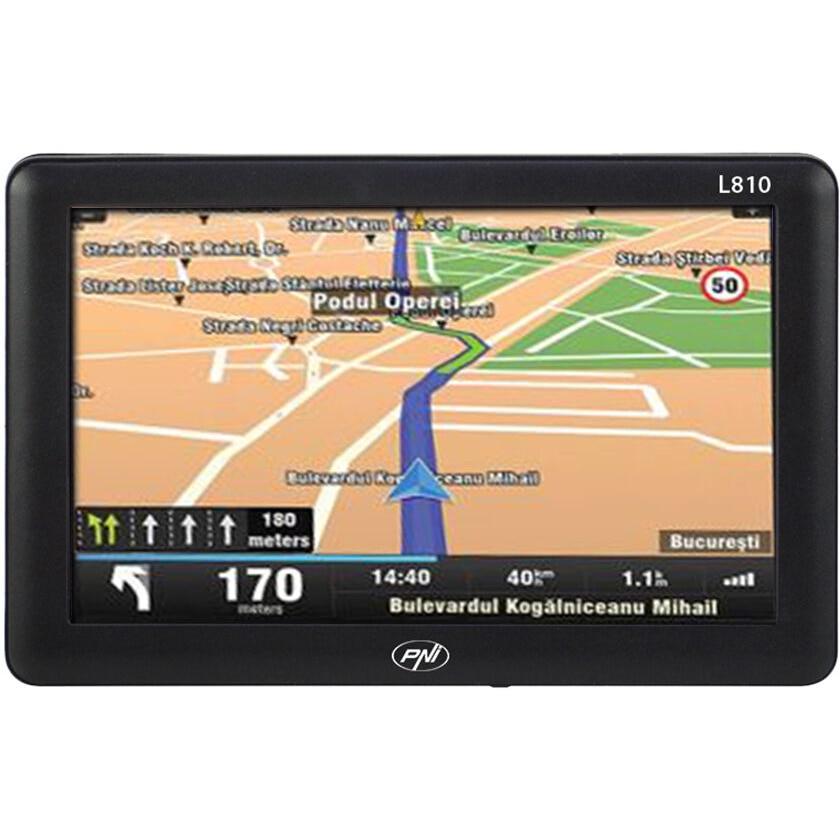Fotografie Sistem de navigatie GPS PNI L810 ecran 7 inch, harta Europei Mireo Dont Panic + Actualizari pe viata a hartilor