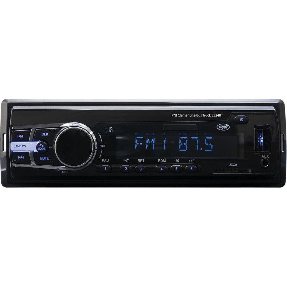 Fotografie Radio MP3 player auto PNI Clementine Bus Truck 8524BT 4x45w 12V/24V 1 DIN cu SD, USB, AUX, RCA si Bluetooth 24 volt