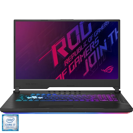 "Laptop Gaming Asus ROG Strix G731GV cu procesor Intel Core i7-9750H pana la 4.5 GHz, 17.3"", Full HD, 144 Hz, 16GB, 512GB SSD M.2, Nvidia GeForce RTX 2060 6GB, Free DOS, Black"