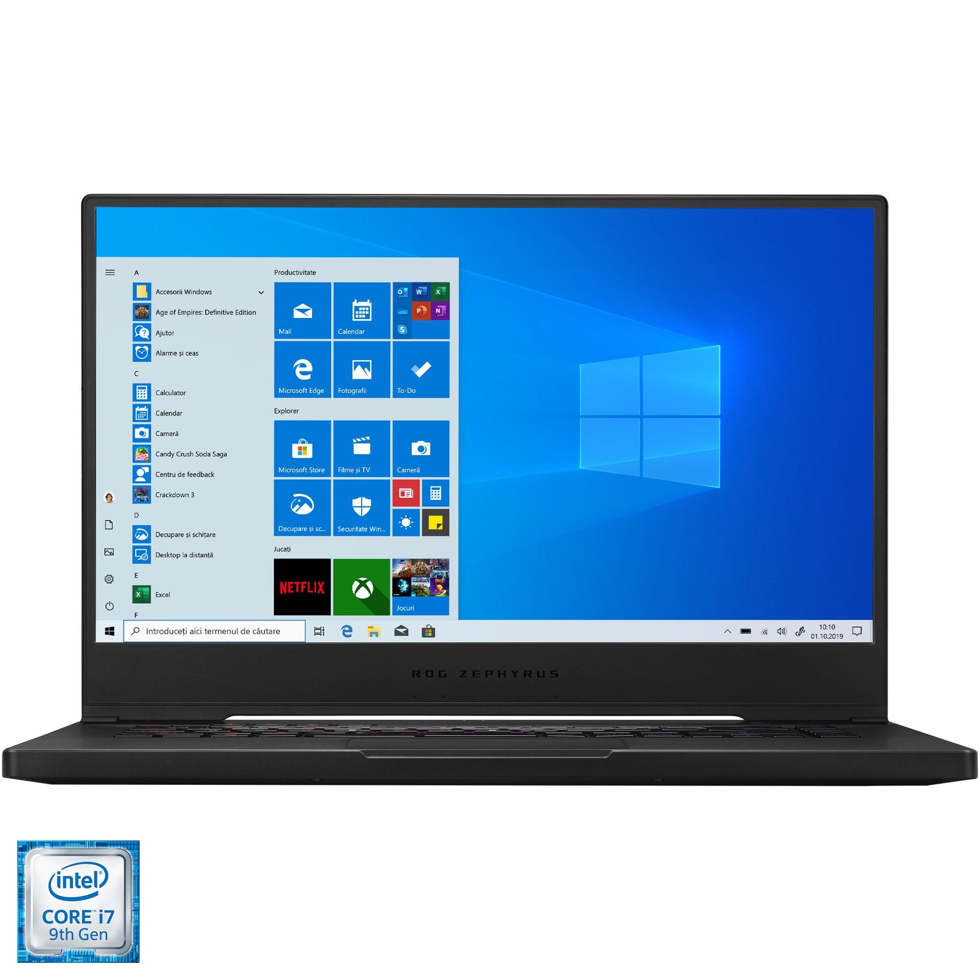 "Fotografie Laptop Gaming ASUS ROG Zephyrus M GU502GV cu procesor Intel® Core™ i7-9750H pana la 4.50 GHz Coffee Lake, 15.6"", Full HD, IPS, 240Hz, 16GB, 512GB SSD, NVIDIA® GeForce RTX™ 2060 6GB, Windows 10, Brushed Black"