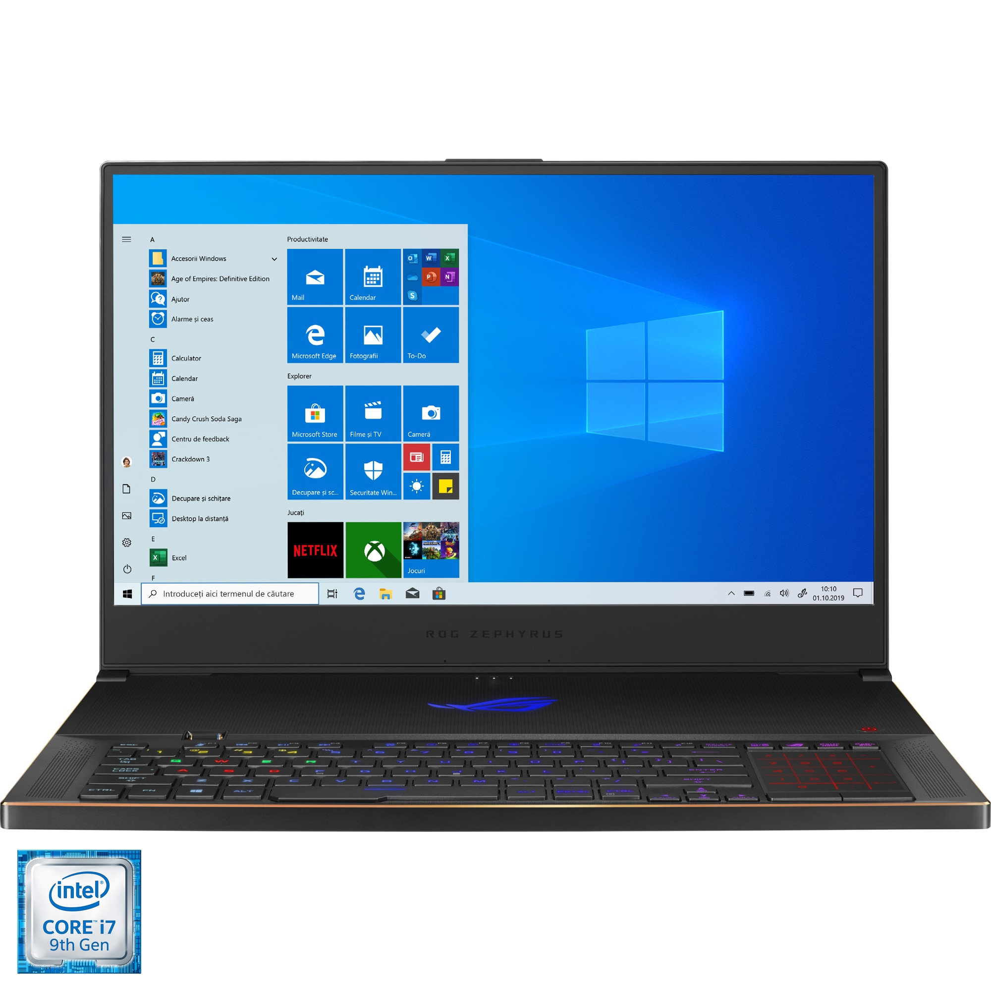 "Fotografie Laptop Gaming ASUS ROG Zephyrus S GX701GWR cu procesor Intel® Core™ i7-9750H pana la 4.50 GHz Coffee Lake, 17.3"", Full HD, IPS, 240Hz, 32GB, 1TB SSD, NVIDIA® GeForce RTX™ 2070 8GB, Windows 10, Black"
