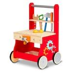 """Banc de Lucru Mobil din Lemn Natural cu Unelte si Accesorii, 49 CM Inaltime """"ISP Mobil Wood Bench"""", pentru Copii, Dezvolta Inteligenta, Abilitati Motorii si de Comunicare, Rosu"""