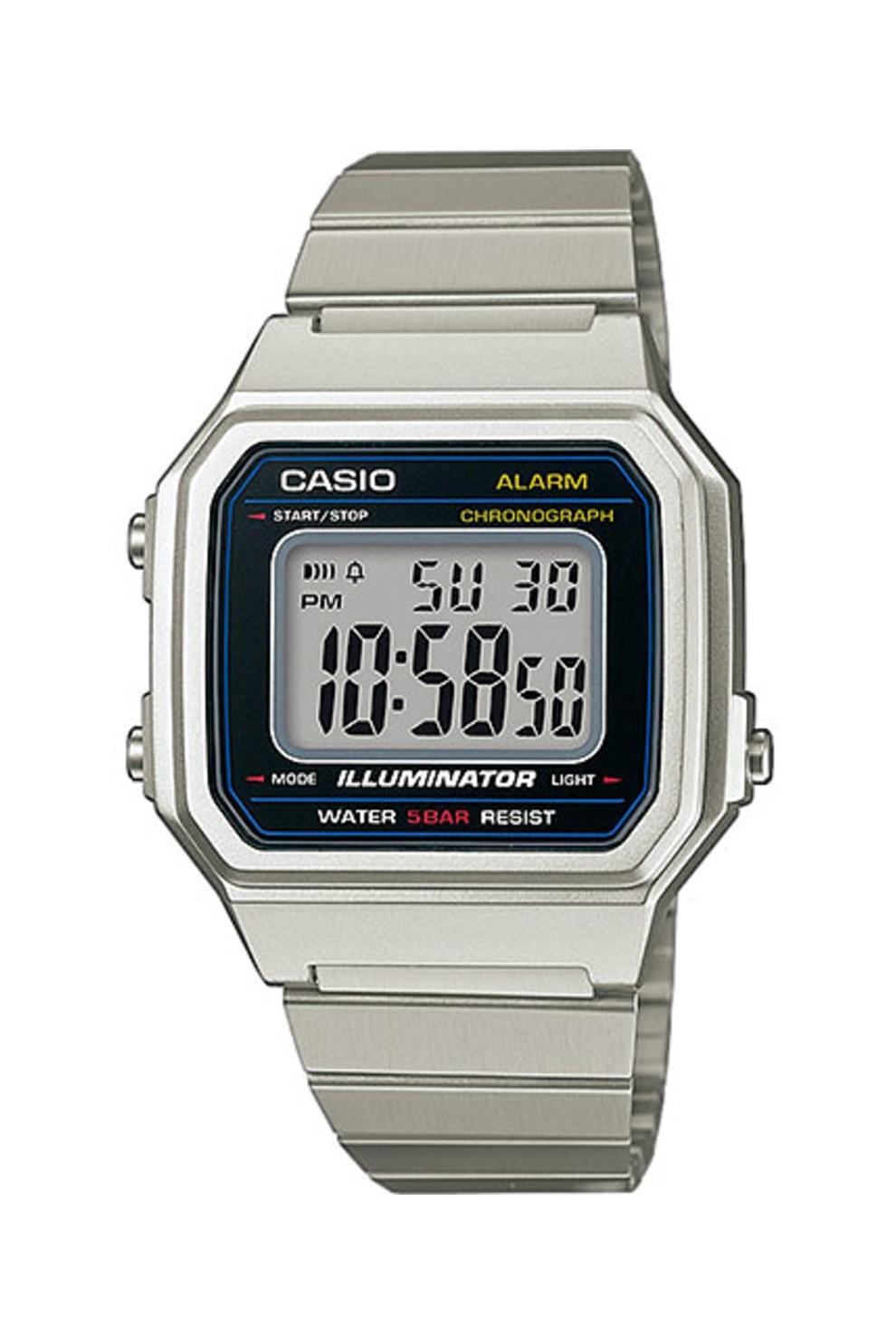 Fotografie Casio, Ceas digital cronograf unisex, Argintiu