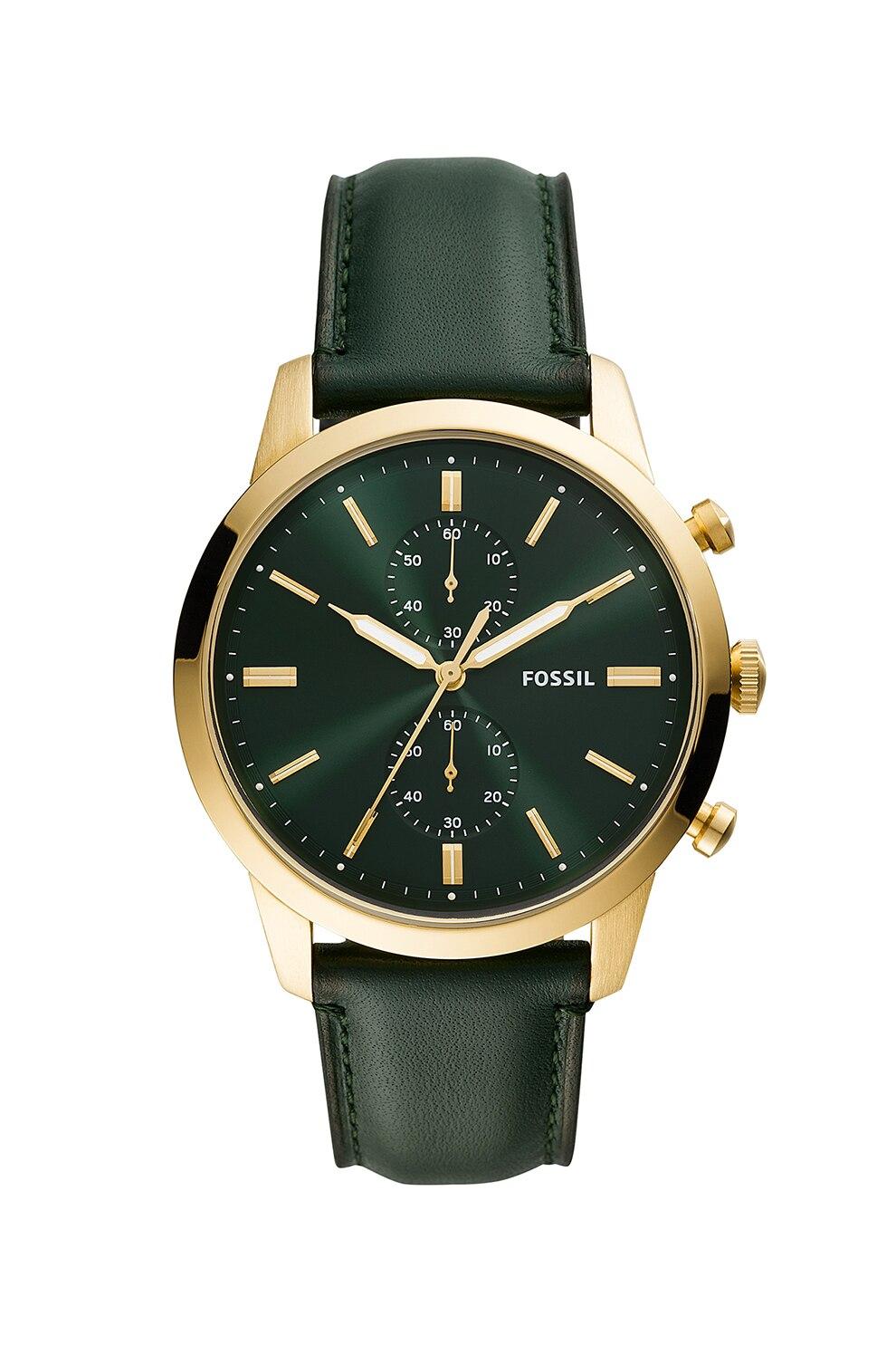 Fotografie Fossil, Ceas cronograf cu o curea de piele, Verde