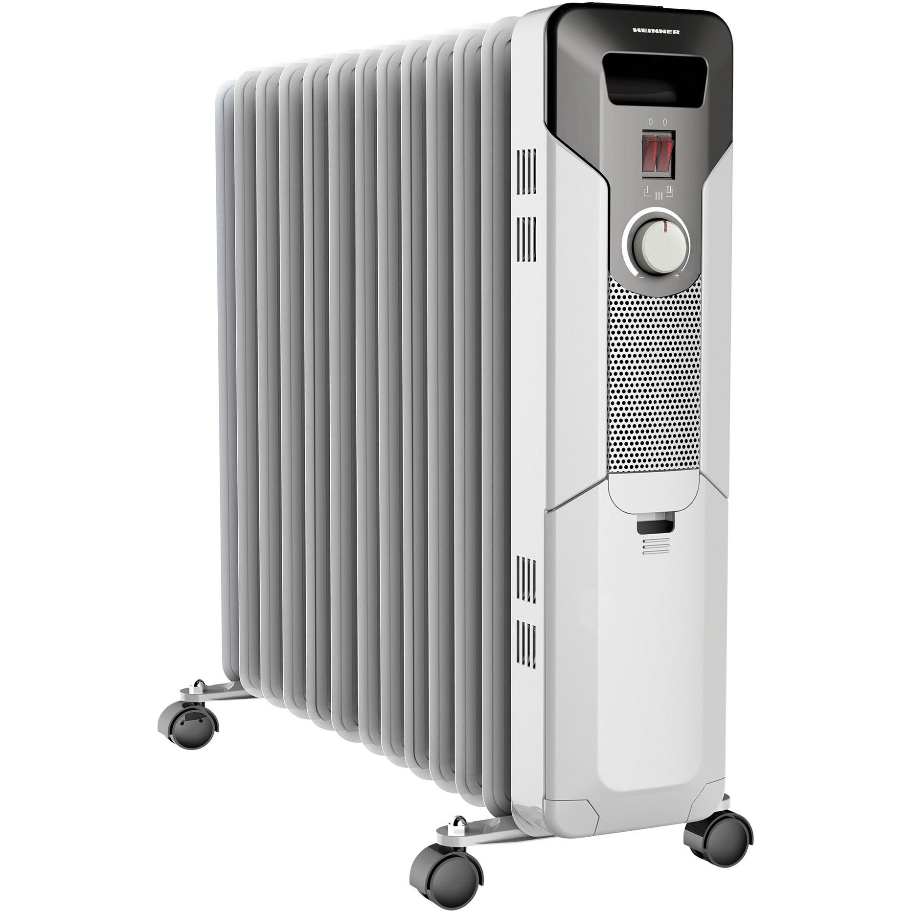 Fotografie Calorifer electric cu ulei Heinner HOH-Y13S, 2500 W, 13 elementi, protectie supraincalzire, termostat reglabil, alb
