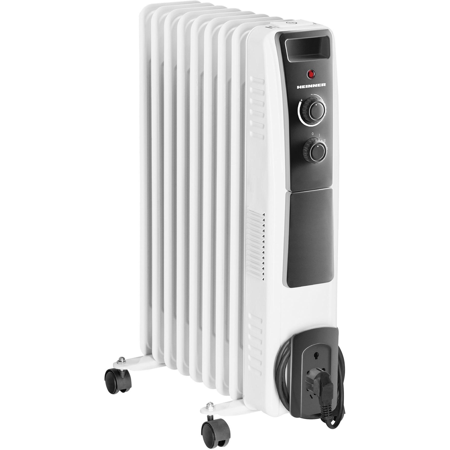Fotografie Calorifer electric cu ulei Heinner HOH-Y09WB, 2000 W, 9 elementi, protectie supraincalzire, termostat reglabil, alb