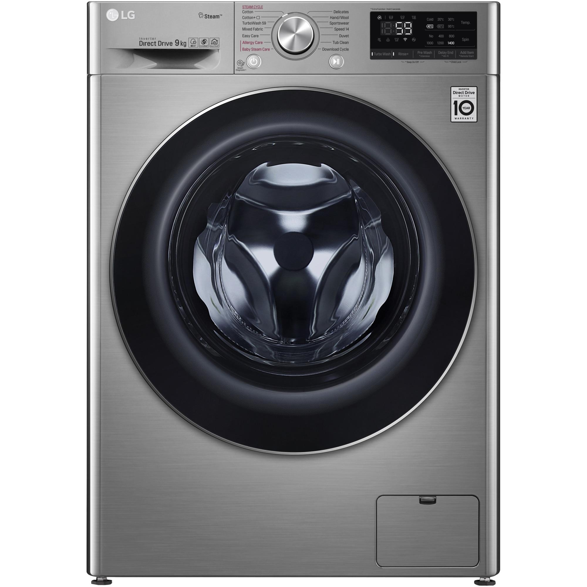 Fotografie Masina de spalat rufe LG F4WN609S2T, 9 kg, 1400 RPM, Clasa D, Direct Drive, Turbo Wash, Steam, Smart Diagnoisis, WiFi, Argintiu